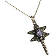 Dragonfly Pendant, Amethyst Pendant, Sterling Silver, Vintage Pendant, Purple Stone, Insect Jewelry, Boho, Bug Jewelry, Sterling Chain