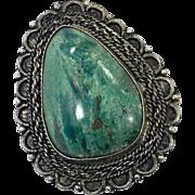 Eilat Chrysocolla, Solomon Stone, Sterling Silver, Pendant Brooch, Israel Pendant, Big Statement, Detailed, Boho Bohemian, Ornate Setting
