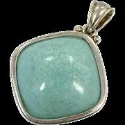 Larimar Pendant, Sterling Silver, Vintage Pendant, Minimalist, Contemporary, Modern, Blue, Natural Gemstone, Stefilia, Pectolite
