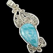 Larimar Pendant, Sterling Silver, Big, Vintage Pendant, Blue Stone, Dolphin Stone, Ethnic Tribal, Boho, Stefilia, Atlantis, 925, New Age
