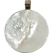 Shell Pendant, Sterling Silver, Full Moon, Seashell Pendant, Large, White, Mother of Pearl, Vintage Pendant, Massive, Huge, Big, Mermaid