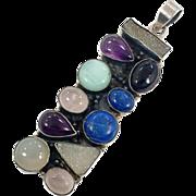 Stone Pendant, Lapis, Rose Quartz, Druzy, Amethyst, Onyx, Calcedony, Sterling Silver, Vintage Pendant, Mixed Stones, Large, Big, Statement