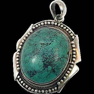 Turquoise Pendant, Sterling Silver, Vintage Pendant, Big Stone, Sterling Pendant, Large, Ethnic Tribal, Boho Pendant, Detailed