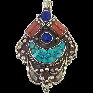 Turquoise Pendant, Lapis, Coral, Tibetan Silver, Vintage Pendant, Inlaid Stone, Large Big, Nepal, Boho Statement, Bohemian Hippie, Ethnic