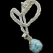 Larimar, Pendant,Larimar Necklace, Sterling Silver, Vintage Pendant, Sterling Chain, Dolphin Stone, Blue Pendant, Stefilia Stone, Pectolite