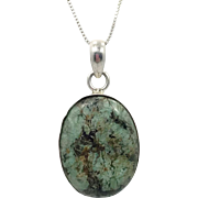 Turquoise Pendant, Turquoise Necklace, Sterling Silver, Sterling Pendant, Green Turquoise, Sterling Chain, Big Stone, Oval, Vintage Pendant