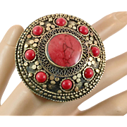Big Kuchi Ring, Vintage Ring, Red Jasper, Afghan Ethnic, Turkish Jewelry, Statement, Size 8 1/4, Brass, Gypsy, Mixed Metals, Boho Jewelry