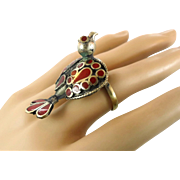 Bird Ring, Ethnic Ring, Kuchi Vintage Ring, Red Enameled, Turkmen Afghan, Statement Ring, Size 7, Boho Bohemian, Gypsy, Unique Unusual