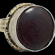 Brown Black Ring, Vintage Ring, Kuchi, Afghan Ethnic, Mens Mans, Size 10, Signet, Boho Bohemian, Patina, Big, Large, Tribal, Gypsy, Nomad