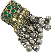 Green Kuchi Ring, Bells, Afghan Ethnic, Gypsy Boho, Mixed Metals, Nomad, Belly Dance, Turkmen, Middle Eastern, Size 12, Wide, Mens Ring