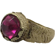 Afghan Ring, Vintage Ring, Fuchsia, Kuchi Ring, Afghan Ethnic, Gypsy Jewelry, Statement, Size 8 1/2, Boho Bohemian, Pink Red, Hippie