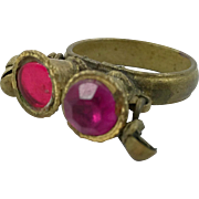 Ethnic Ring, Kuchi Vintage Ring, Turkomen Afghan, Mixed Metal, Pink Glass, Statement Ring, Size 8 1/2, Boho Bohemian, Gypsy, Stacking Ring