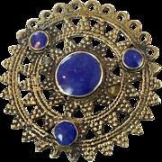 Blue Lapis, Huge Ring, Brass Ring, Kuchi Ring, Vintage Ring, Statement Ring, Mens Ring, Afghan, Ethnic Turkish, Two Finger, Size 12, Unique