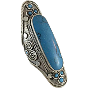 Tibetan Ring, Blue Stone Ring, Nepal Jewelry, Statement, Massive, Tibetan Silver, Size 10, Big, Composite Blue Stone, Bohemian, Ethnic
