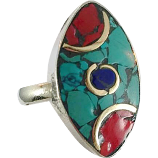 Turquoise Ring, Nepal Jewelry, Blue Lapis, Red Coral, Vintage Ring, Tibetan Silver, Inlaid Stone, Boho Bohemian, Ethnic, Gypsy, Adjustable