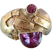 Amethyst Ring, Tourmaline, Sterling Silver, Vintage Ring, Gold Wash, Artisan, Studio, Pink Purple, Unique, Modern, Brutalist, Size 7, Rustic