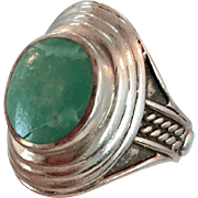 Amazonite Ring, Sterling Silver, Vintage Ring, Size 9, Big Stone, Unisex, Mens Ring, Ethnic Jewelry, Blue Green, Sterling Ring