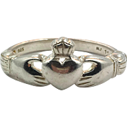 Claddagh Ring, Sterling Silver, Size 11, Vintage Ring, Irish Jewelry, Celtic Ring, 925, Irish Wedding, Heart, Crown, Hands