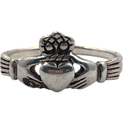 Claddagh Ring, Sterling Silver, Size 6 1/4, Vintage Ring, Irish Jewelry, Celtic Ring, 925, Irish Wedding, Heart, Crown, Hands
