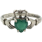 Claddagh Ring, Sterling Silver, Green, Vintage Ring, Irish Jewelry, Celtic Ring, 925, Size 8 1/4, Irish Wedding, Heart, Crown, Hands