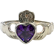 Claddagh Ring, Iolite Stone, Sterling Silver, Size 7 1/2, Vintage Ring, Purple, Irish, Celtic Ring, Irish Wedding, Heart, Crown, Hands