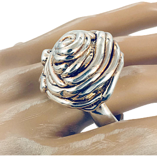 Abstract Ring, Electroformed, Brutalist, Sterling Silver, Size 7, Vintage Ring, Statement, Domed, Modern, Contemporary, Unique Unusual