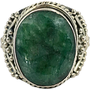 Emerald Ring, Green Stone, Sterling Silver, Large, Vintage Ring, May Birthstone, Size 7, Unique, Massive, Big, Multi Stone, Ethnic, Rustic