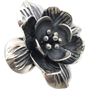 Flower Ring, Sterling Silver, Dogwood, Blossom,Vintage Jewelry, Statement Ring, Adjustable, Size 6 1/2, Patina, 925, Big, Unusual, Unique