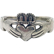 Claddagh Ring, Sterling Silver, Vintage Ring, Irish Jewelry, Celtic Ring, 925, Size 10, Irish Wedding, Heart, Crown, Hands