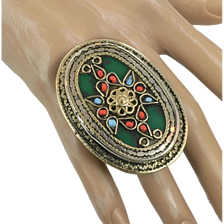 Turkish Ring, Vintage Afghan, Kuchi Ring, Huge, Size 8, Emerald Green, Enamel, Bohemian, Massive, Oversized, Mens, Unisex, Statement Ring