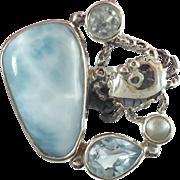 Larimar Ring, Blue Topaz, Sterling Silver, Vintage Ring, Crab, Pearl, Multi Stone, Size 6 1/2, Cancer Zodiac, Mermaid, Beach Ocean, Sea