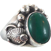 Malachite Ring, Native American, Sterling Silver, Vintage Ring, Size 12 1/2, Feather, Heavy, Green, Southwestern, Country Western, Mens, Big