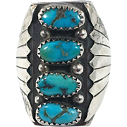 Turquoise Ring, Sterling Silver, Vintage, Native American, Old Dead Pawn, Signed, BS, Mens, Size 10 1/2, Big Statement, Huge, Large, Heavy