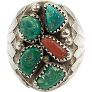 Turquoise Ring, Sterling Silver, Vintage, Native American, Navajo, Coral, Old Dead Pawn, Mens Ring, Size 12 1/2, Big Statement, Huge, Large