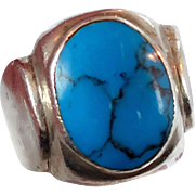 Turquoise Ring, Sterling Silver Ring, Vintage Ring, Big Statement, Mexico Mexican, Unisex Mans Mens, Size 10 1/2, Blue Stone, Black Matrix