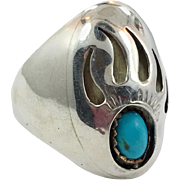 Turquoise Ring, Bear Paw Ring, Sterling Silver, Native American, Mens Ring, Size 11, Heavy Silver, Shadowbox Style, Wide, Big, Large