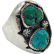 Turquoise Ring, Sterling Silver, Vintage, Native American, Navajo, Old Dead Pawn, Mens Ring, Size 8 1/2, Big Statement, Huge, Large