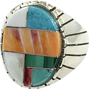 Turquoise Ring, Native American, Sterling Silver Ring, Navajo, Ray Jack, Inlaid, Coral, Malachite, MOP, Vintage, Size 11, Big, Wide, Inlay
