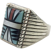 Turquoise Ring, Native American, Sterling Silver, Inlay Turquoise, Coral Onyx MOP, Size 12 1/2, Horseshoe Hallmark, Vintage Ring, Mens