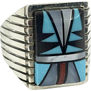 Turquoise Ring, Native American, Sterling Silver, Signed SB, Sam Begay, Inlay Turquoise, Coral Onyx MOP, Size 8 1/2, Vintage, Mens, Unisex