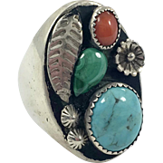 Turquoise Ring, Red Coral, Mens Ring, Green Malachite, Sterling Silver, Vintage Ring, Native American, Heavy, Big, Huge, Size 11, Dead Pawn