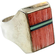 Spiny Oyster Ring, Turquoise Ring, Sterling Silver, Vintage Ring, Spiney, Onyx, Inlaid, Native American, Size 10, Mens Ring,Southwestern