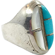 Turquoise Ring, Native American, Mother of Pearl, Sterling Silver, Vintage Jewelry, Inlay, MOP, Size 8, Unisex, Mens Ring, Boho, Statement