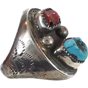 Turquoise Ring, Red Coral, Sterling Silver, Vintage Ring, Native American, Mens Mans, Heavy Huge, Big Statement, Size 11 1/4, Dead Pawn