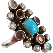 Amethyst Ring, Moonstone Ring, Turquoise, Pearl, Multi-Stone, Nicky Butler, Vintage Ring, Sterling Silver, Big, Long, Size 10, NB, Rainbow