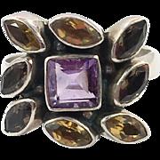 Amethyst Ring, Citrine Ring, Gemstone Ring, Sterling Silver, Nicky Butler, NB, India, Size 10, Yellow, Purple, Boho Bohemian, Rainbow Stones