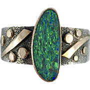 Opal Ring,Sterling Silver, Gold, 14K, Modern, Vintage Ring, Artisan, Handcrafted, Size 6 3/4, Signed, Mixed Metals, Contemporary, Unique