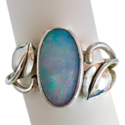 Opal Ring, Sterling Silver, Vintage Ring, Leaves, Size 10 1/2, Handcrafted, Garden Jewelry, Blue Stone, Sterling Opal, Unique, Unusual, OOAK