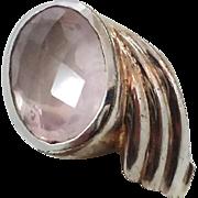 Rose Quartz Ring, Pink Stone, Sterling Silver, Vintage Ring, Faceted Gemstone, Size 9 1/2, Big Statement, Large Stone, Boho Bohemian, 925