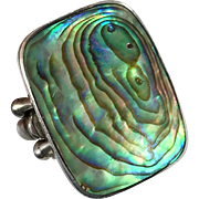 Abalone Ring, Shell Ring, Sterling Silver, Vintage Ring. Sajen, Designer, Peacock Shades, Size 7, Statement Ring, Beach Jewelry, Seashell